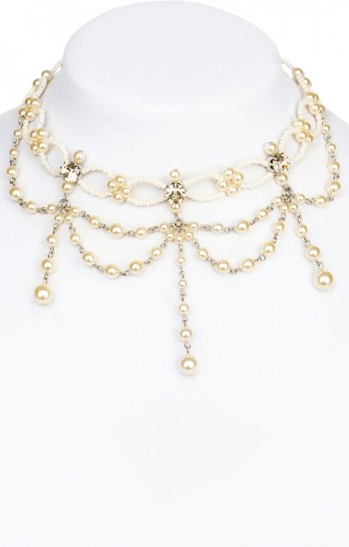 Collana di perline champagn bianco