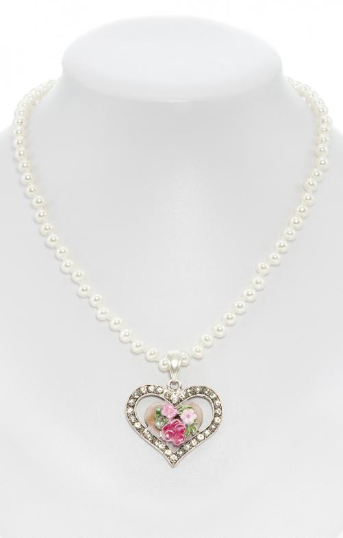 Collana di perle con pendente a cuore rosa