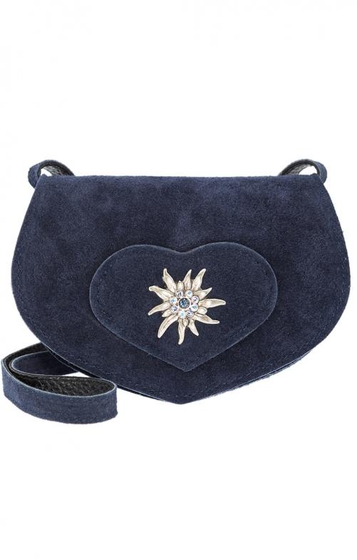Borsa Trachten con pelle, con stella alpina blu
