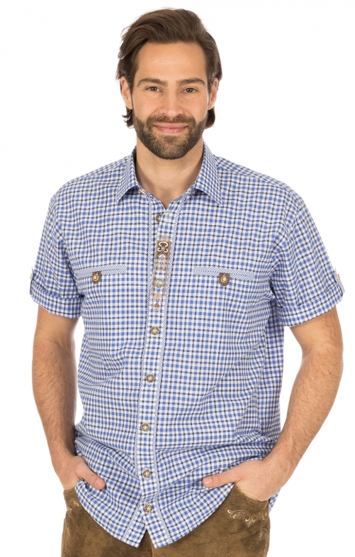 Camicia per Trachten mezzo braccio blu