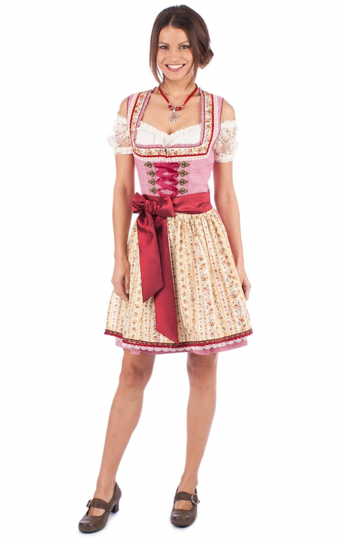 Mini Dirndl 2pz. Florina 50cm bordò