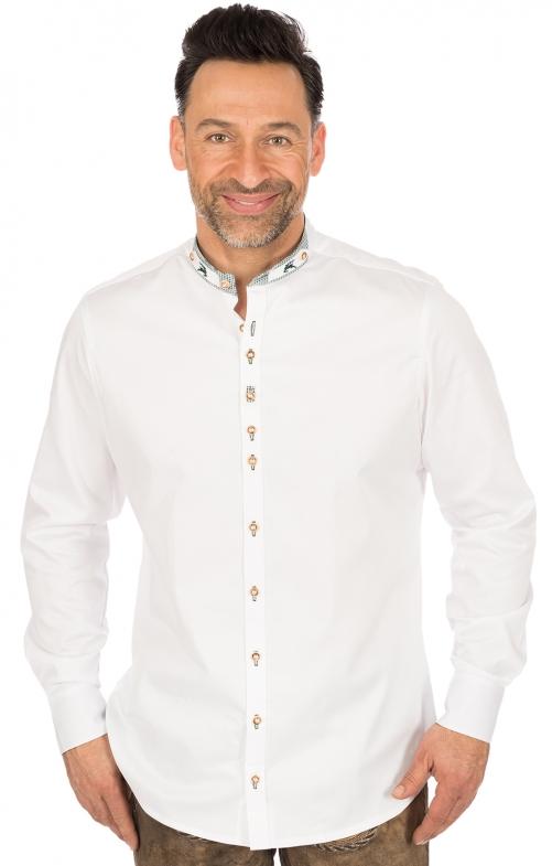 Camicia per Trachten Vestibilità slim bianco