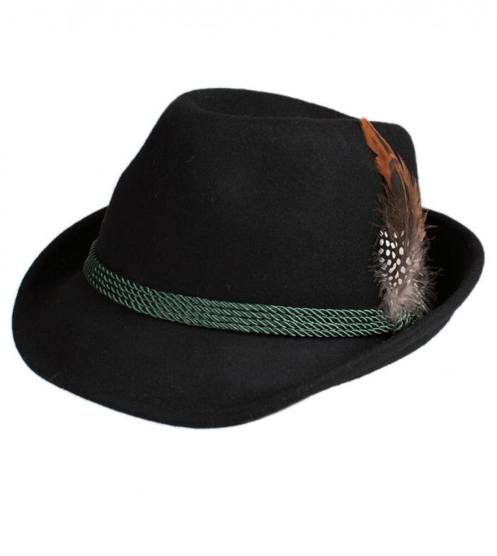 Cappello Trachten HT750, nero, con piume, misura 59