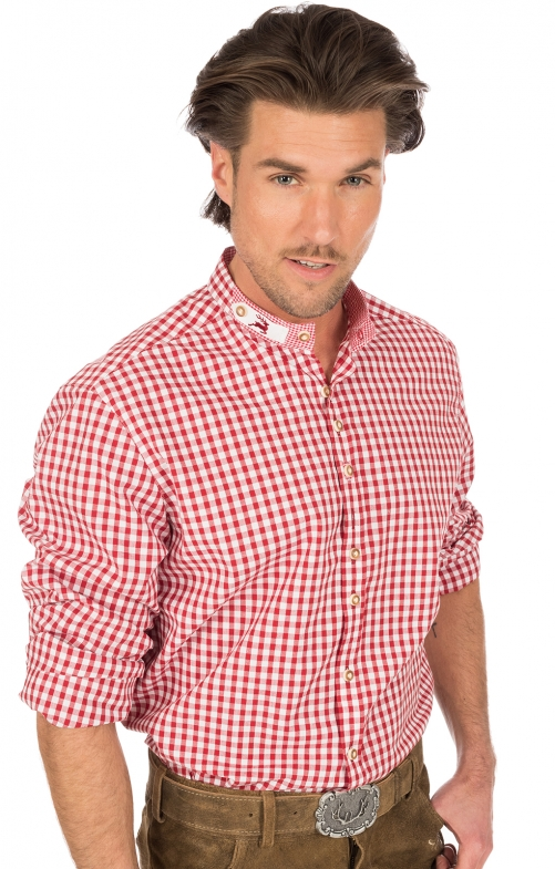 Camicia per Trachten Pfoad rosso