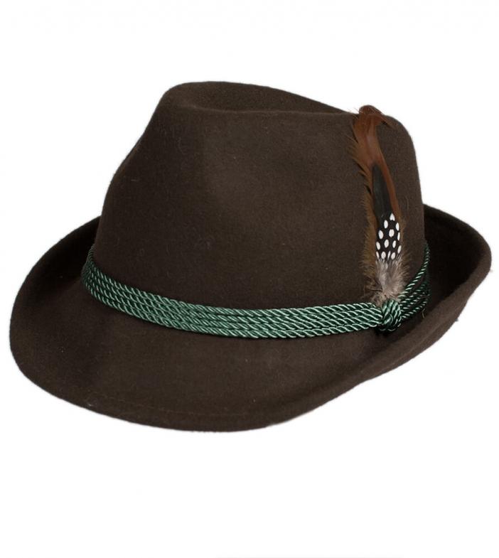 Cappello Trachten HT750, marrone, con piume, misura 58