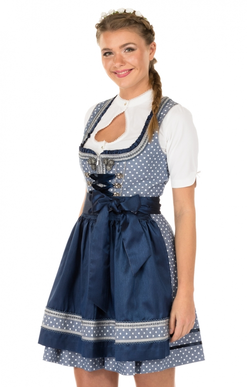 Minidirndl 2pz. Sweat Heart 50cm blau