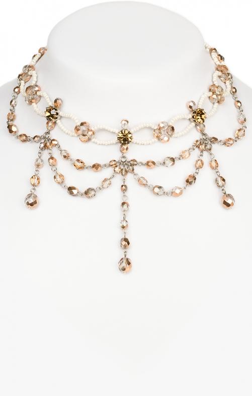 Collana di perline champagn natura