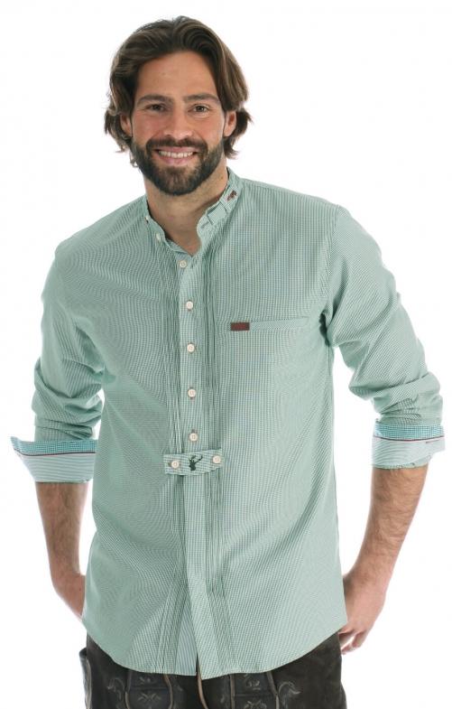 Trachtenhemd Pfoad Stehkragen grün