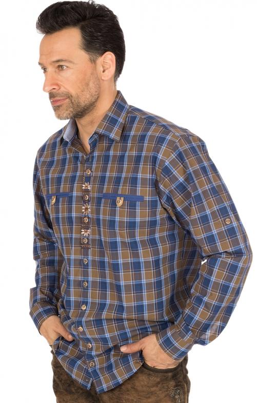 Camicia per Trachten mezzo braccio blu marrone