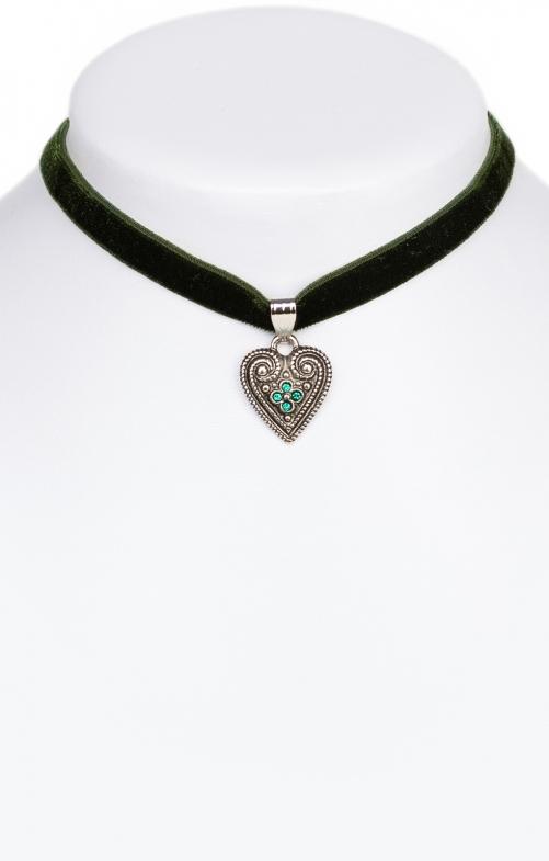 Collana con cuore verde