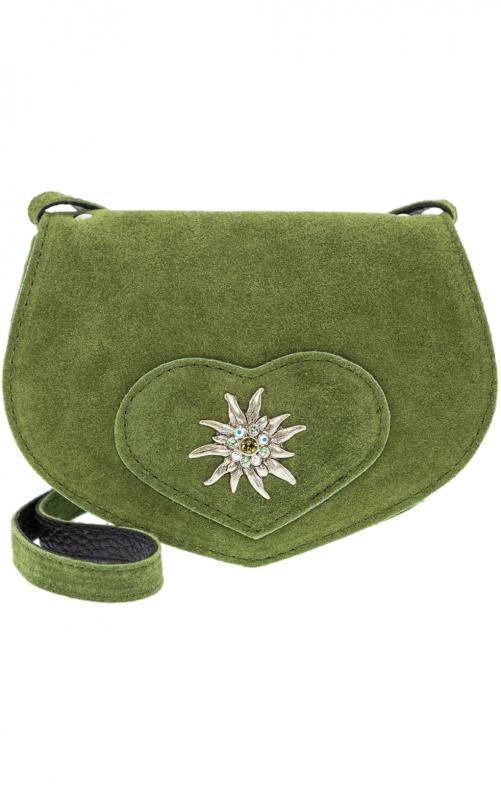 Borsa Trachten con pelle, con stella alpina verde