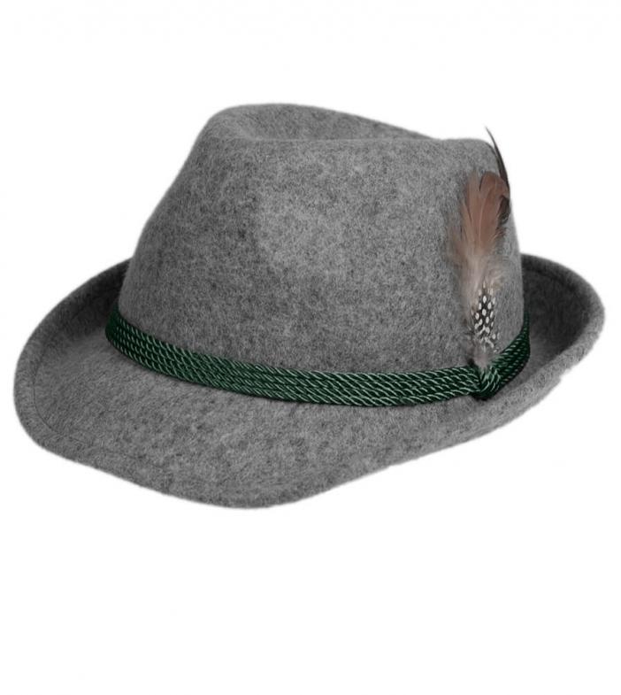 Cappello Trachten HT750, grigio, con piume