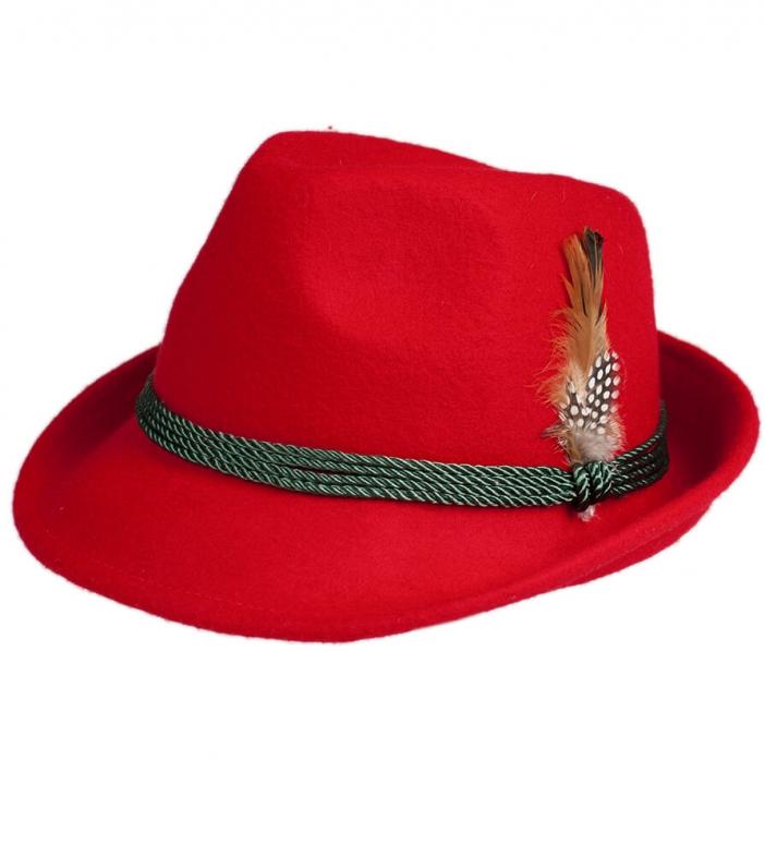 Cappello Trachten HT750, rosso, con piume, misura 58