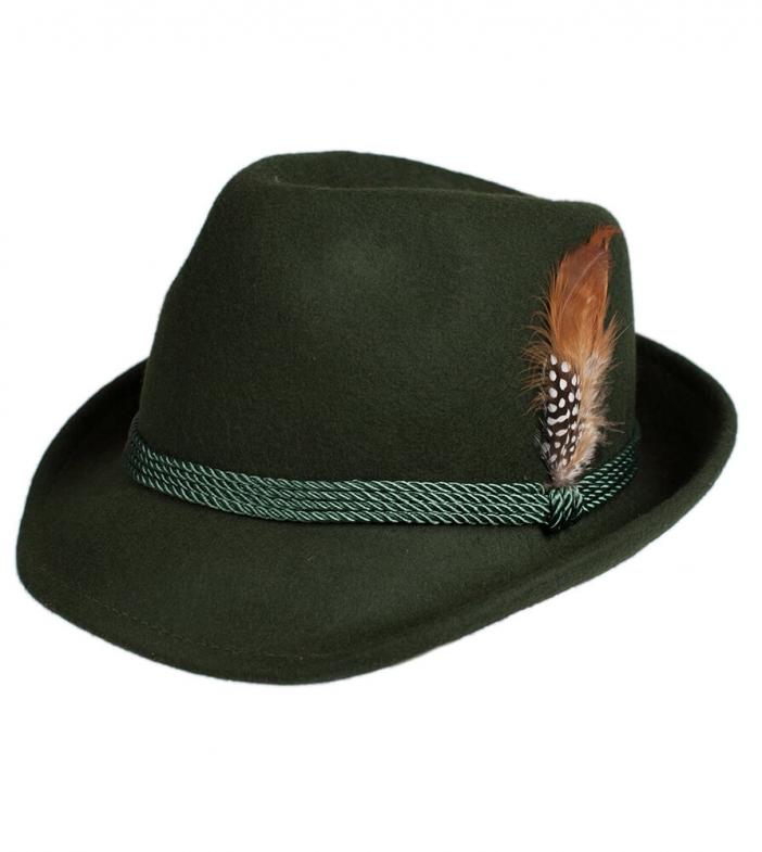 Cappello Trachten HT750, verde, con piume, misura 58