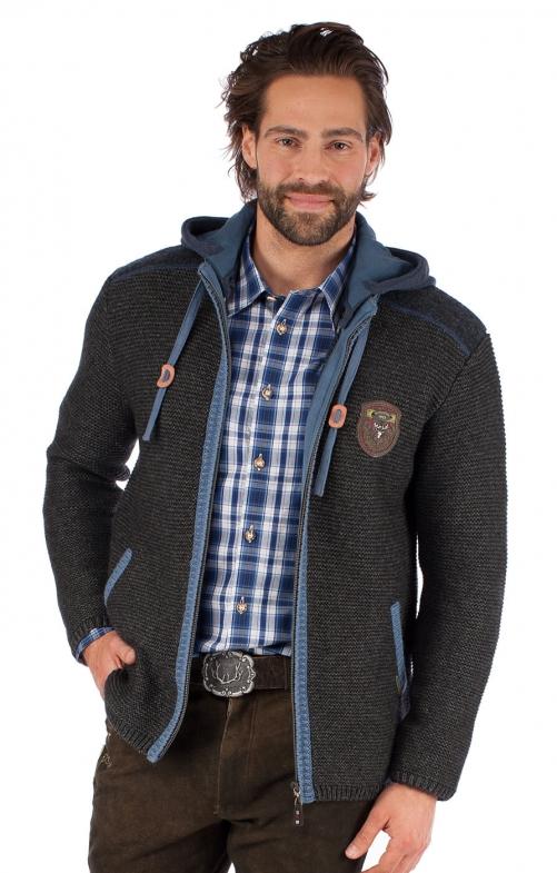 Giacca Trachten in maglia DAKAR grigio/blu
