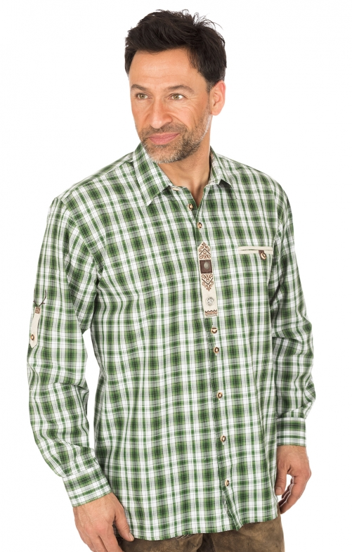 Camicia per Trachten a quadretti verde