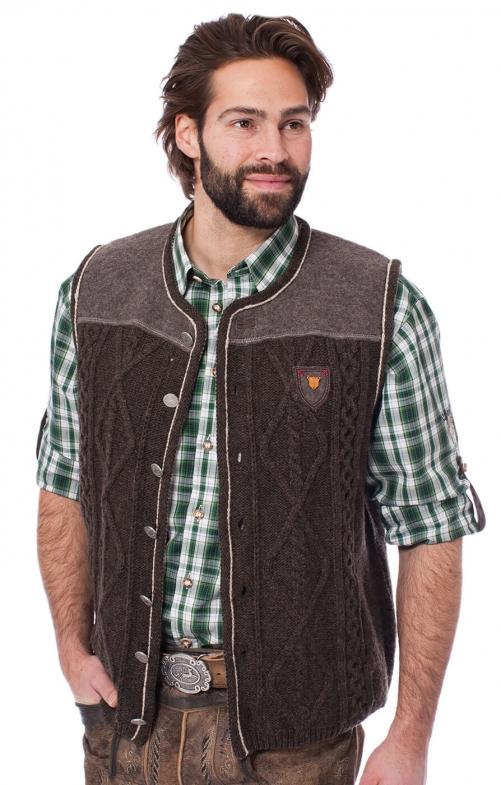 Trachten Gilet in maglia DURBAN marrone