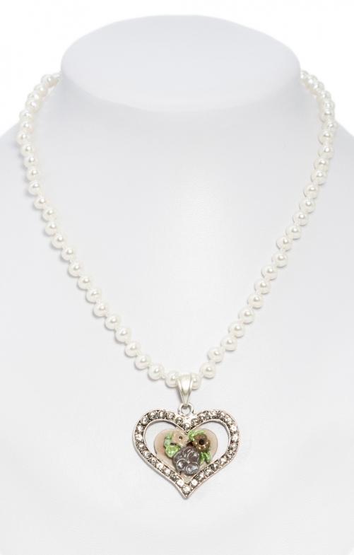 Collana di perle con pendente a cuore marrone